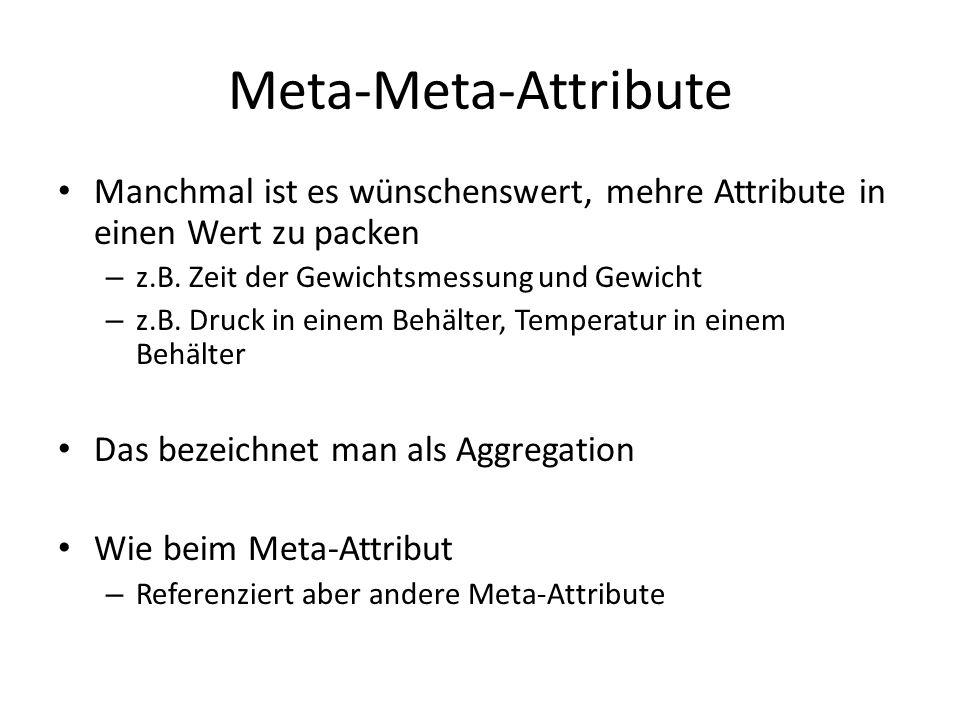 Meta-Meta-Attribute Manchmal ist es wünschenswert, mehre Attribute in einen Wert zu packen. z.B. Zeit der Gewichtsmessung und Gewicht.