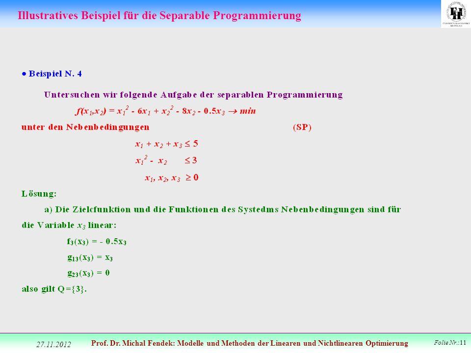 Illustratives Beispiel für die Separable Programmierung