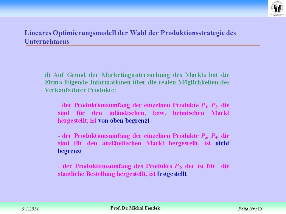 Lineares Optimierungsmodell der Wahl der Produktionsstrategie des Unternehmens