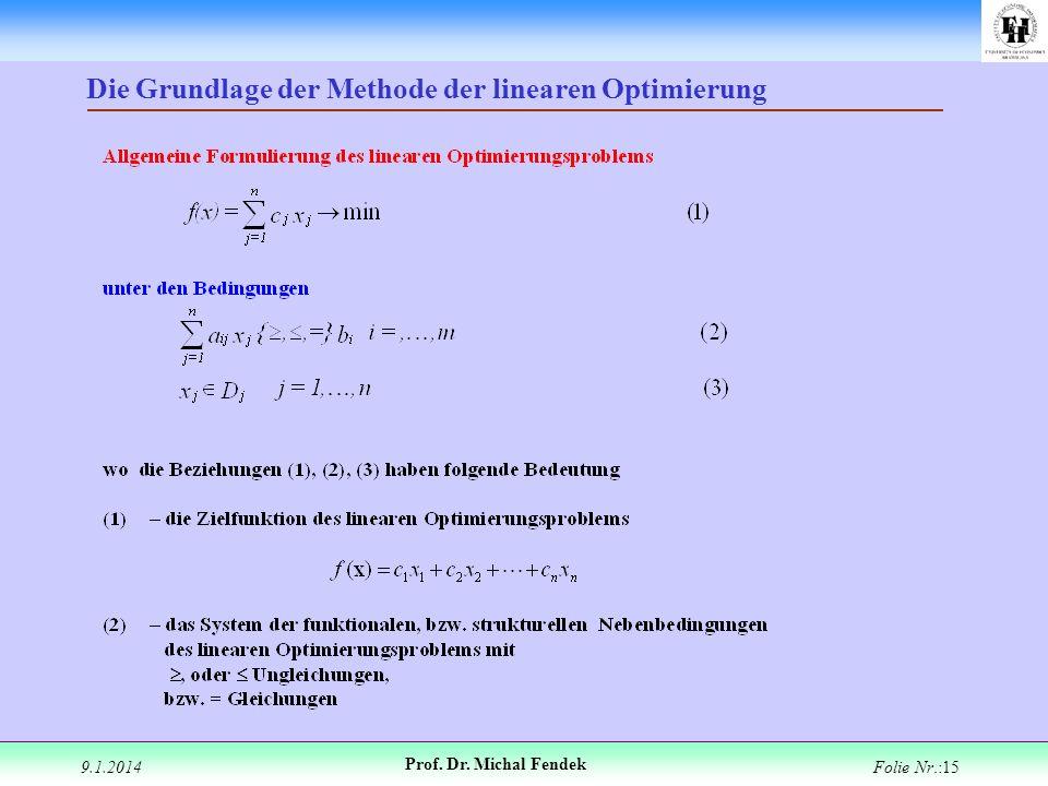 Die Grundlage der Methode der linearen Optimierung