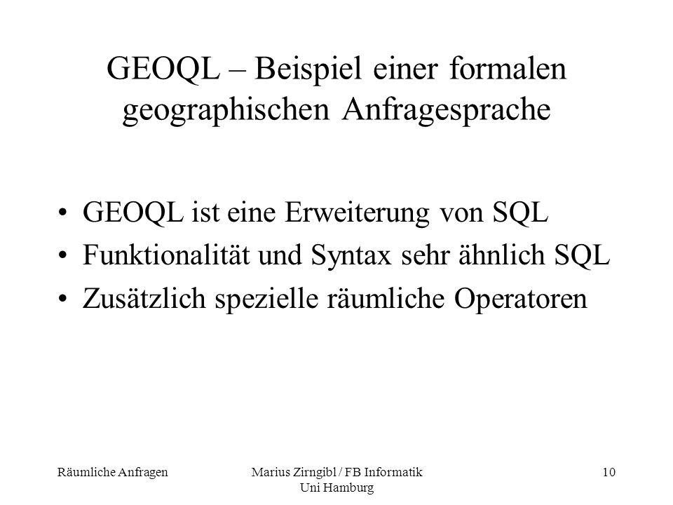 GEOQL – Beispiel einer formalen geographischen Anfragesprache