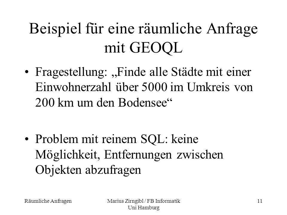 Beispiel für eine räumliche Anfrage mit GEOQL