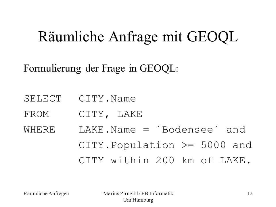 Räumliche Anfrage mit GEOQL
