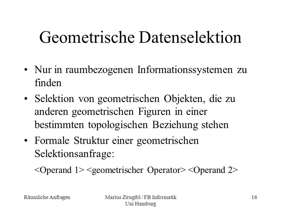 Geometrische Datenselektion
