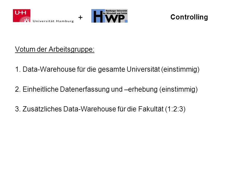 Controlling Votum der Arbeitsgruppe: 1. Data-Warehouse für die gesamte Universität (einstimmig)
