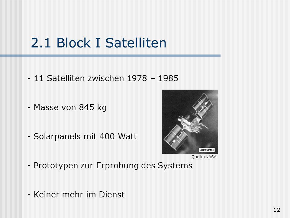 2.1 Block I Satelliten 11 Satelliten zwischen 1978 – 1985