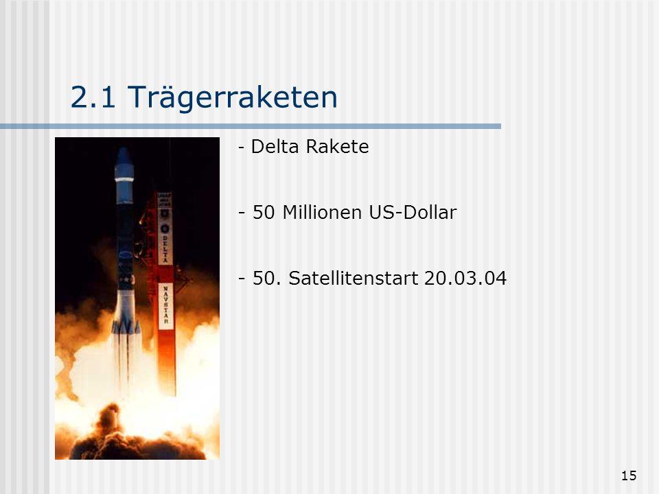 2.1 Trägerraketen 50 Millionen US-Dollar 50. Satellitenstart 20.03.04