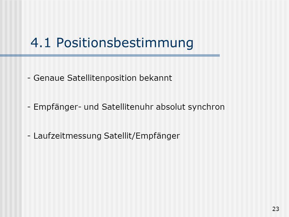 4.1 Positionsbestimmung Genaue Satellitenposition bekannt