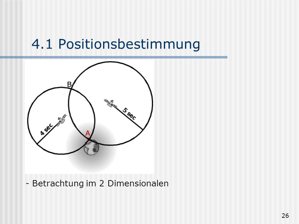 4.1 Positionsbestimmung Betrachtung im 2 Dimensionalen