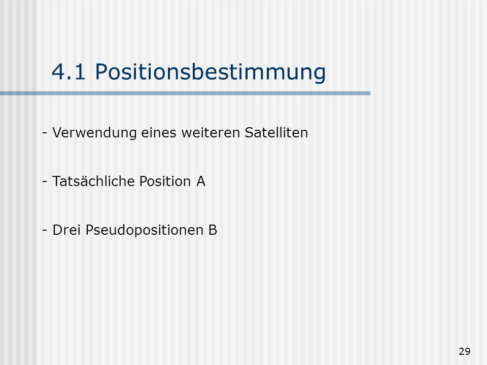 4.1 Positionsbestimmung Verwendung eines weiteren Satelliten