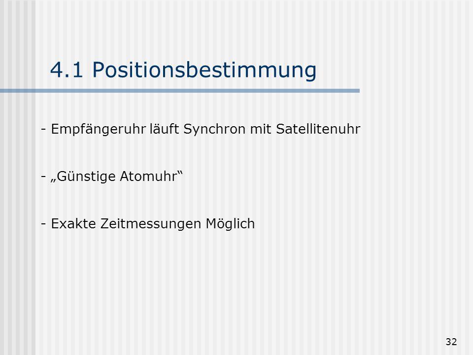 4.1 Positionsbestimmung Empfängeruhr läuft Synchron mit Satellitenuhr