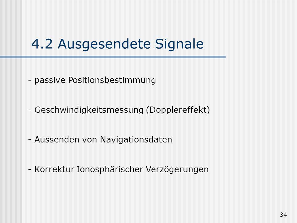 4.2 Ausgesendete Signale passive Positionsbestimmung
