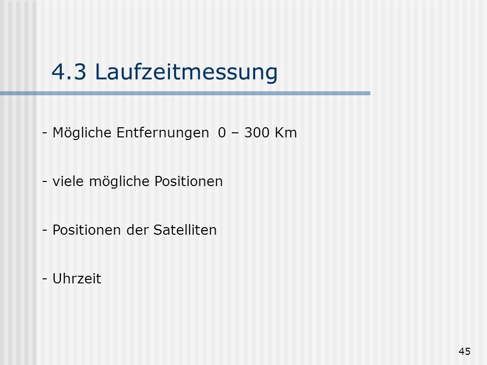 4.3 Laufzeitmessung Mögliche Entfernungen 0 – 300 Km