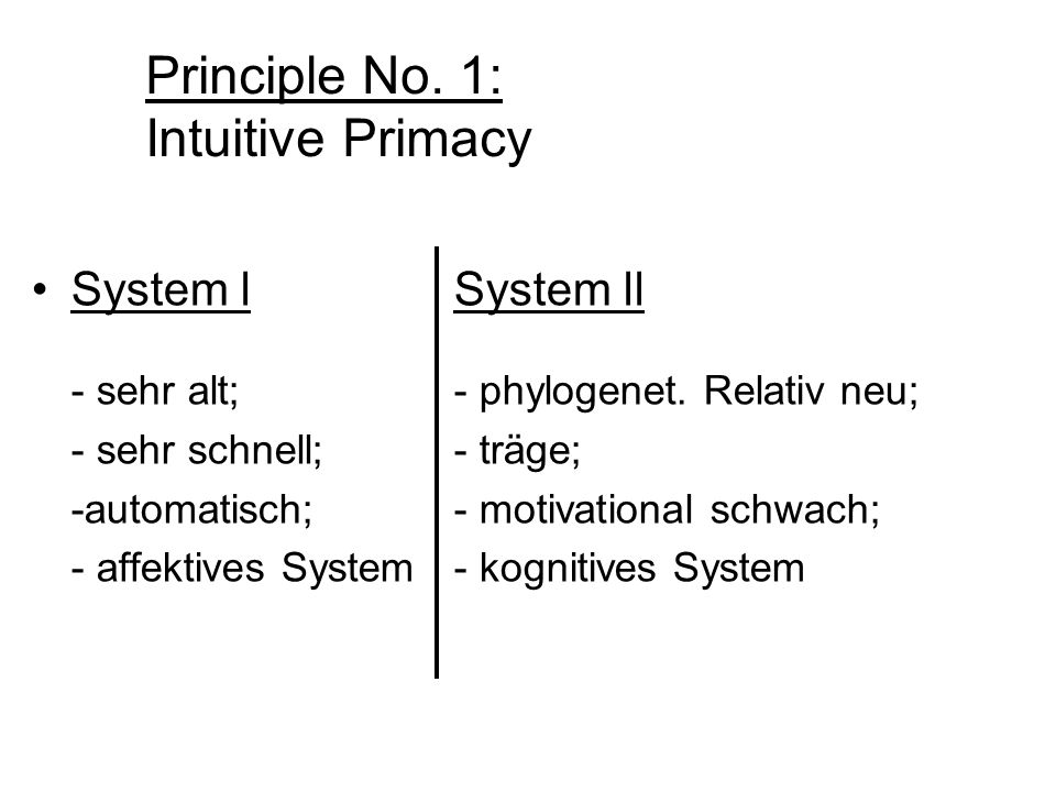 Principle No. 1: Intuitive Primacy