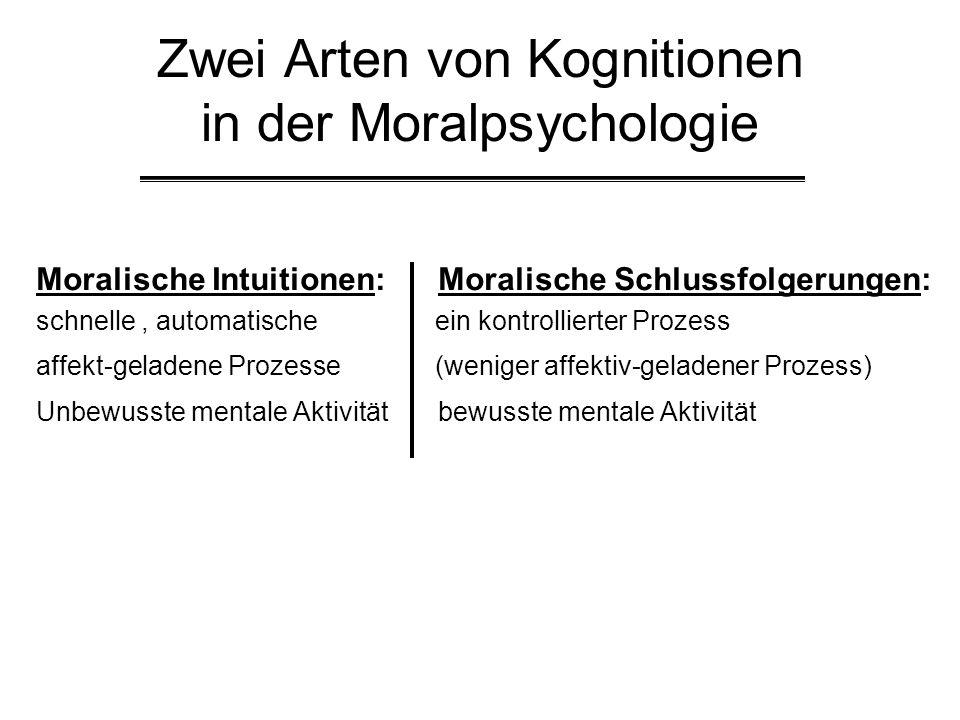 Zwei Arten von Kognitionen in der Moralpsychologie