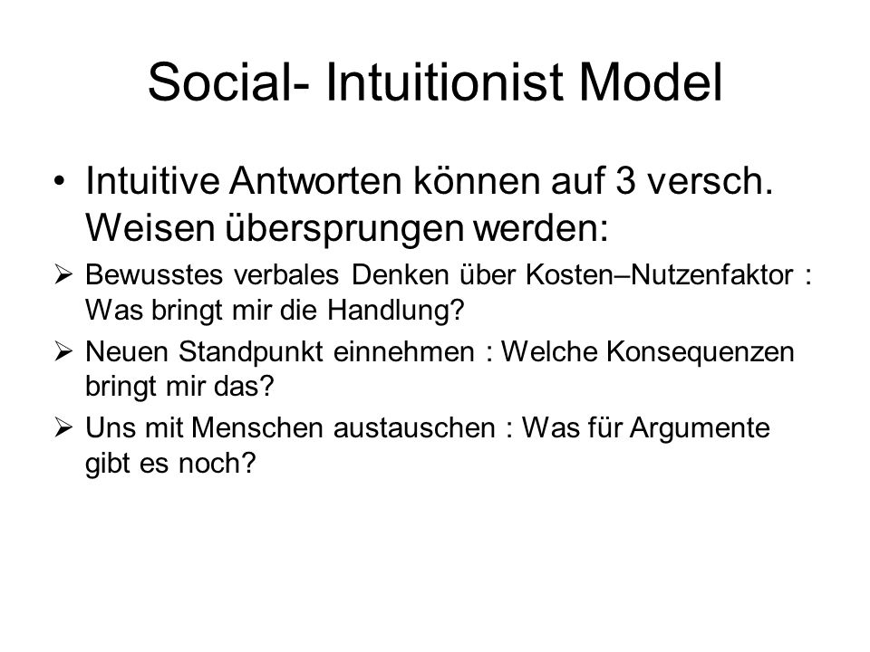 Social- Intuitionist Model