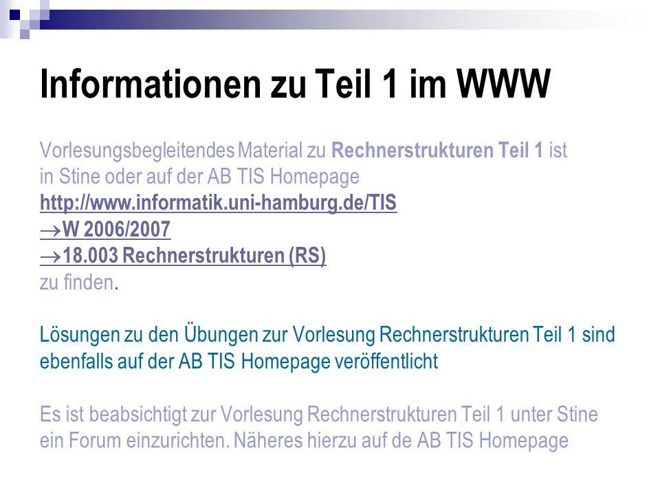 Informationen zu Teil 1 im WWW