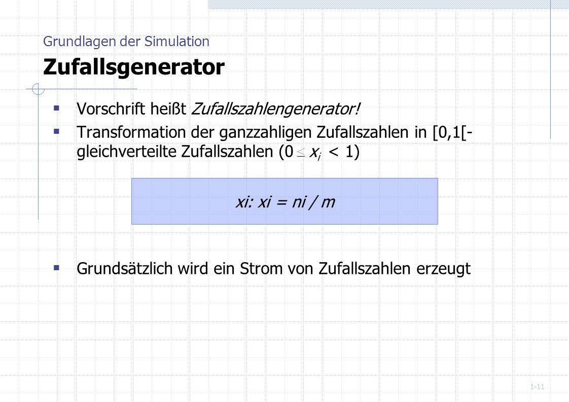 Grundlagen der Simulation Zufallsgenerator