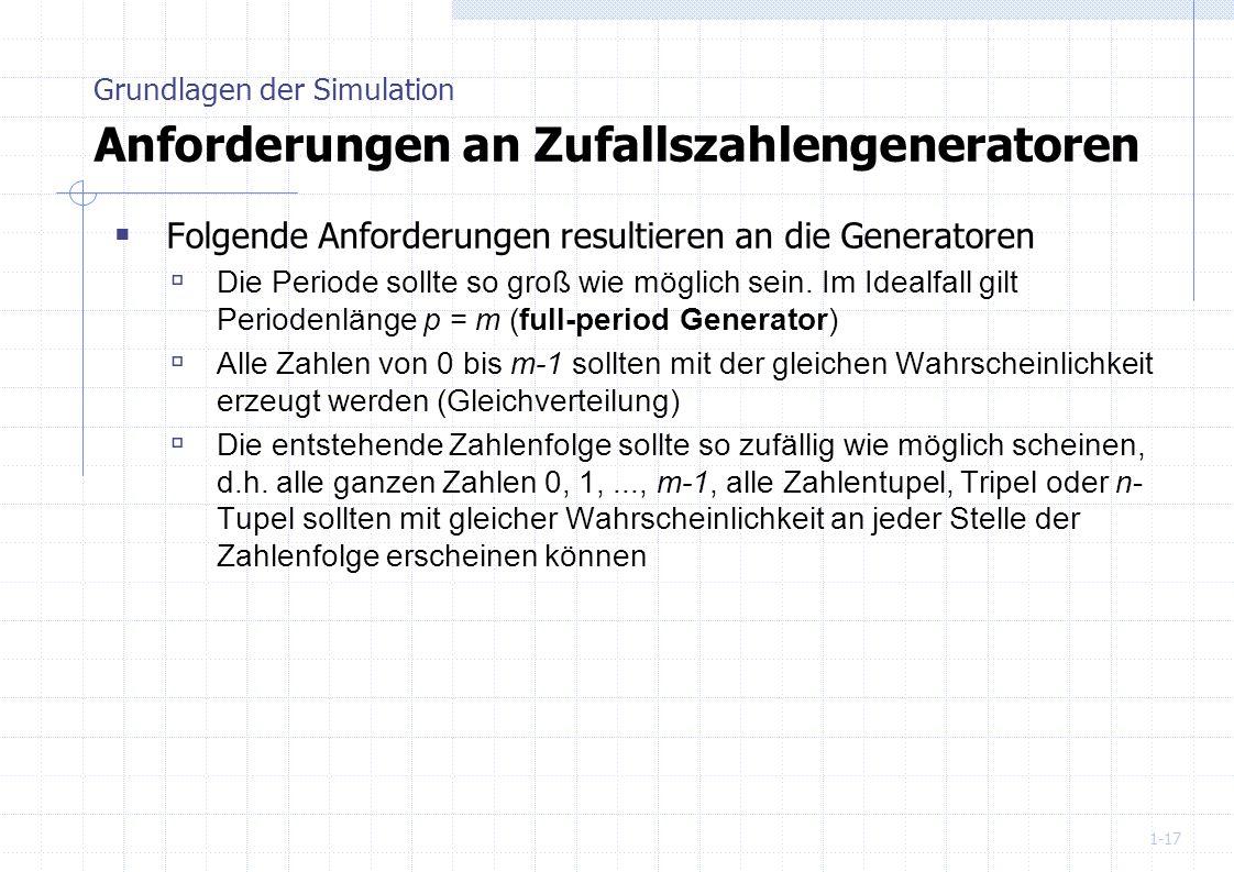 Grundlagen der Simulation Anforderungen an Zufallszahlengeneratoren