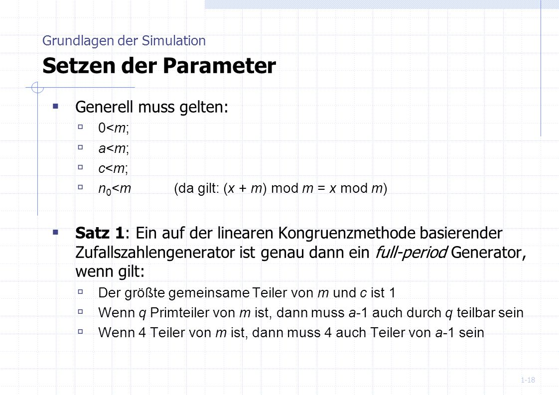 Grundlagen der Simulation Setzen der Parameter