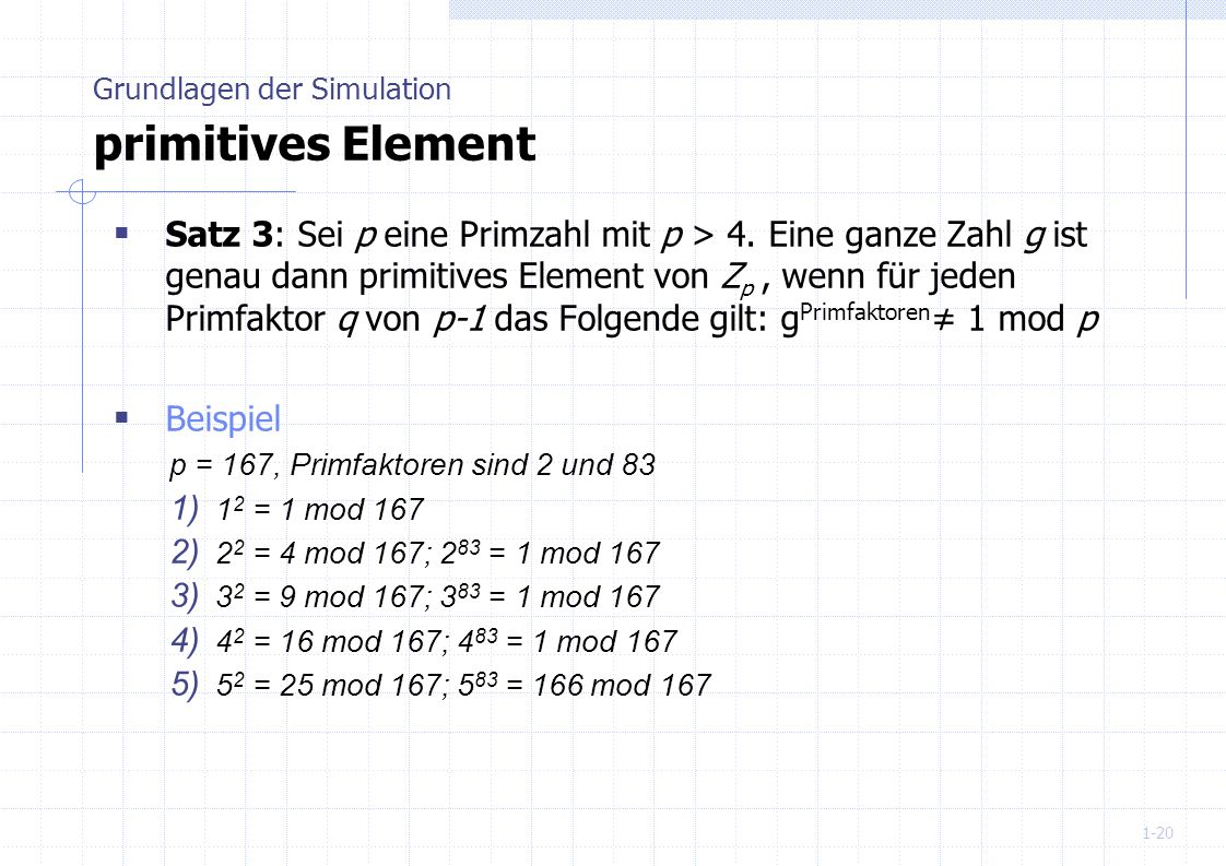 Grundlagen der Simulation primitives Element