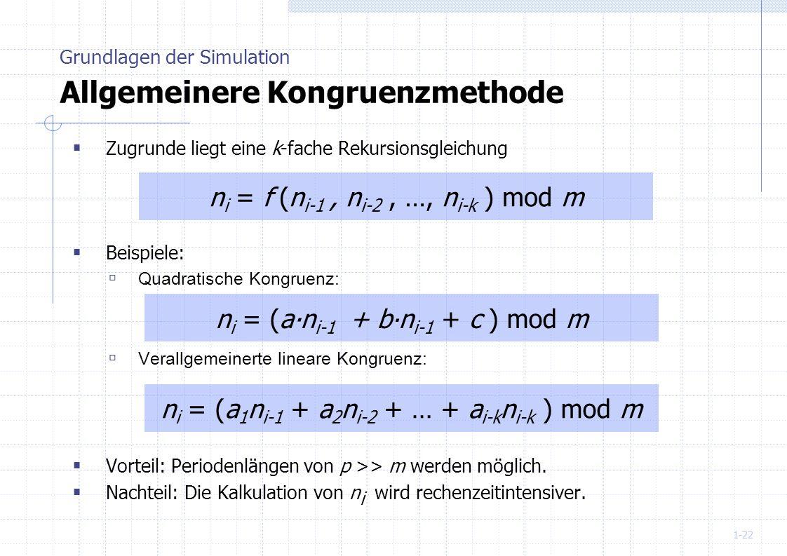 Grundlagen der Simulation Allgemeinere Kongruenzmethode