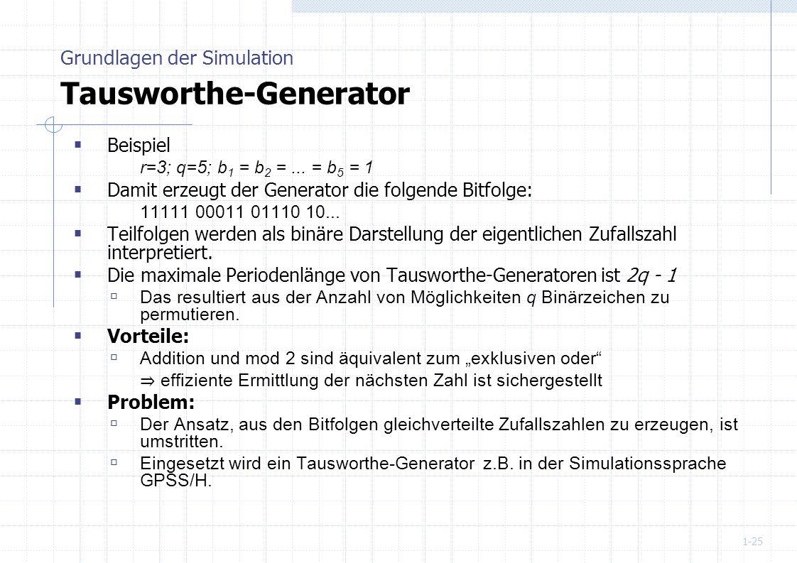 Grundlagen der Simulation Tausworthe-Generator