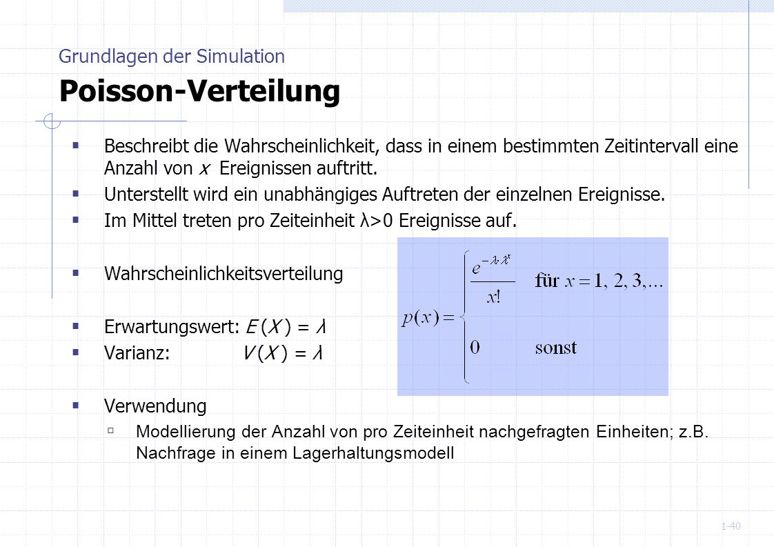 Grundlagen der Simulation Poisson-Verteilung