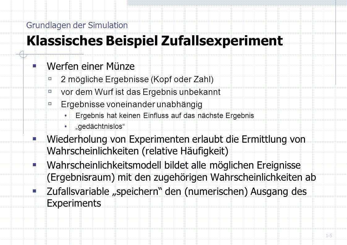 Grundlagen der Simulation Klassisches Beispiel Zufallsexperiment