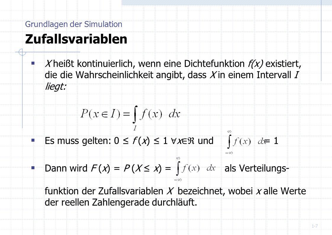 Grundlagen der Simulation Zufallsvariablen