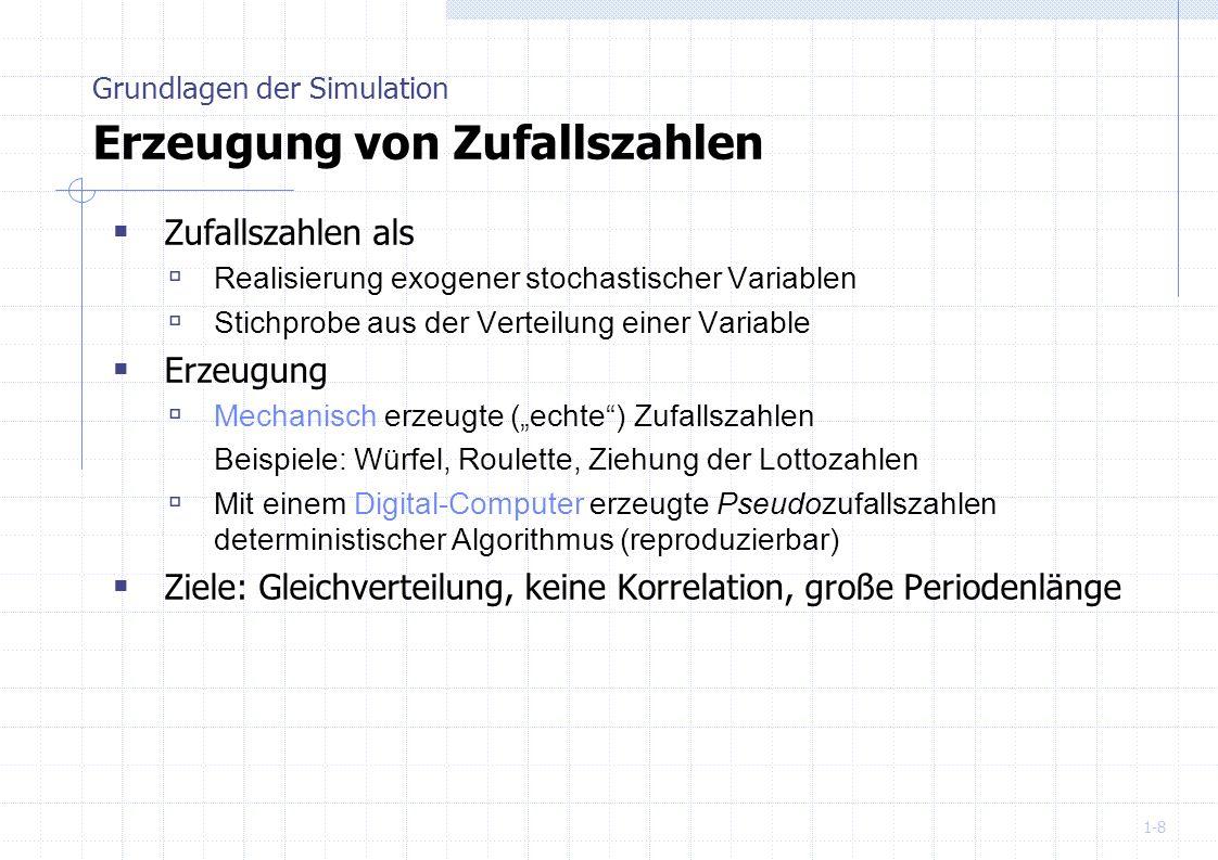 Grundlagen der Simulation Erzeugung von Zufallszahlen