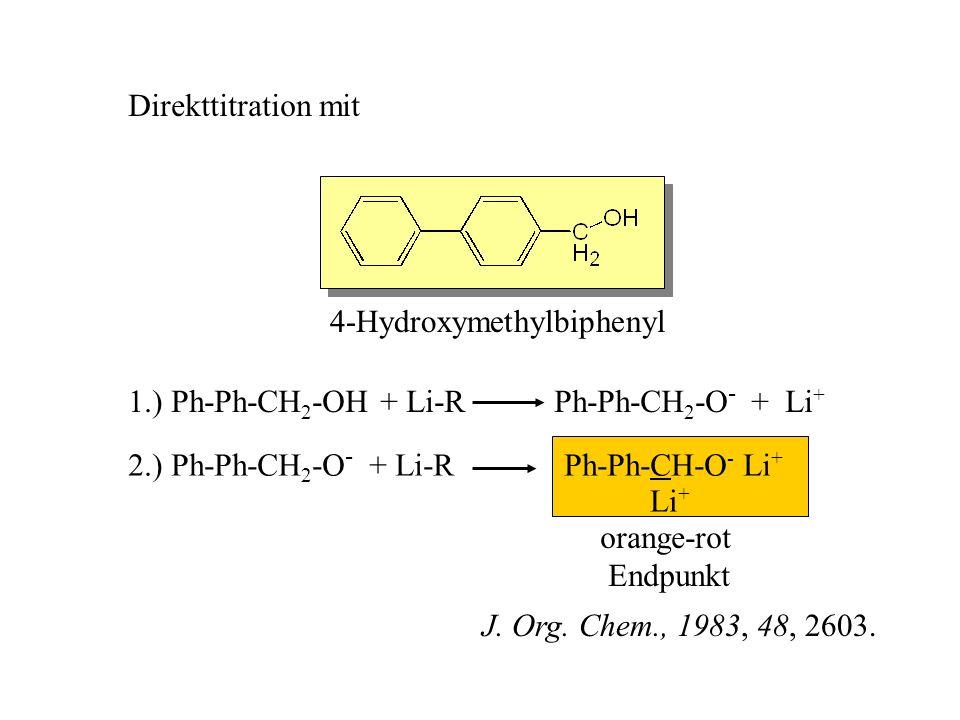 Direkttitration mit 4-Hydroxymethylbiphenyl. 1.) Ph-Ph-CH2-OH + Li-R Ph-Ph-CH2-O- + Li+