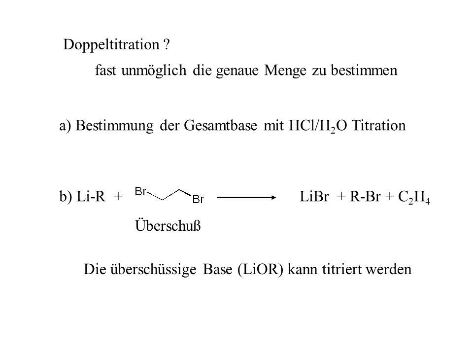 Doppeltitration fast unmöglich die genaue Menge zu bestimmen. a) Bestimmung der Gesamtbase mit HCl/H2O Titration.