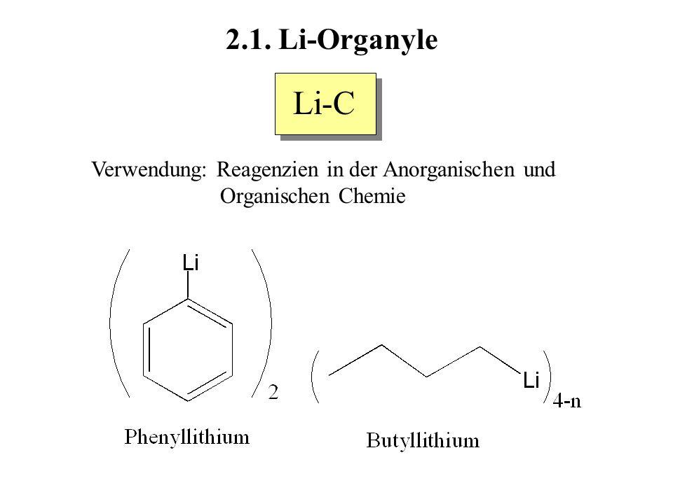 Li-C 2.1. Li-Organyle Verwendung: Reagenzien in der Anorganischen und