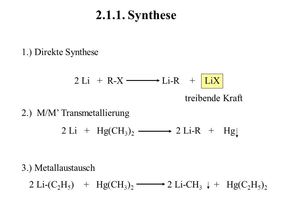 2.1.1. Synthese 1.) Direkte Synthese 2 Li + R-X Li-R + LiX