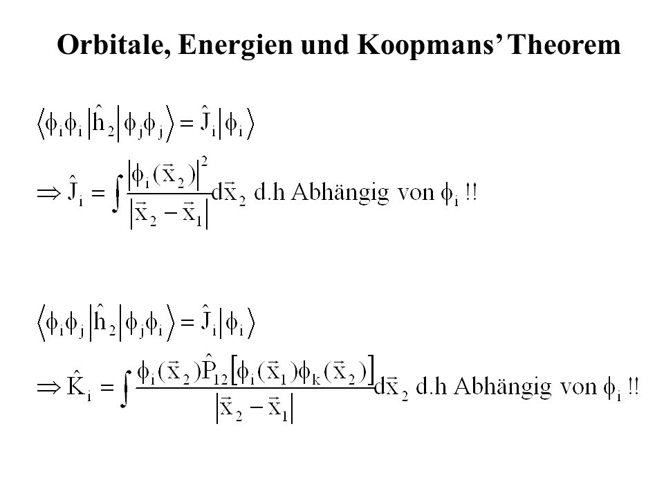Orbitale, Energien und Koopmans' Theorem