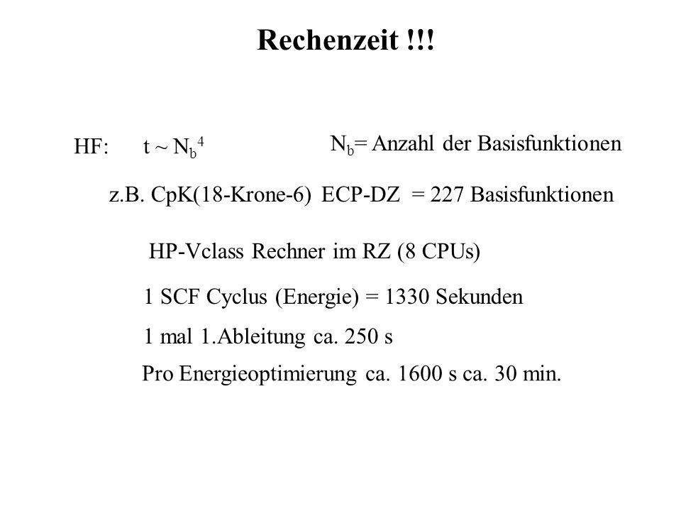 Rechenzeit !!! Nb= Anzahl der Basisfunktionen HF: t ~ Nb4