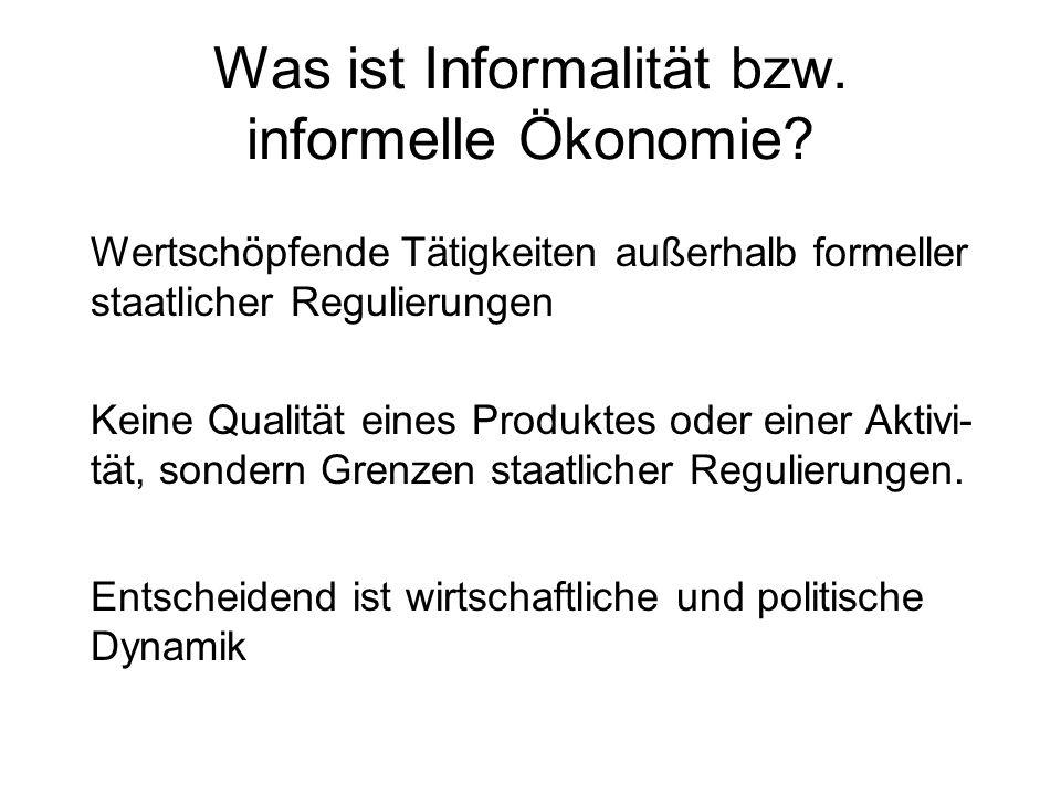 Was ist Informalität bzw. informelle Ökonomie