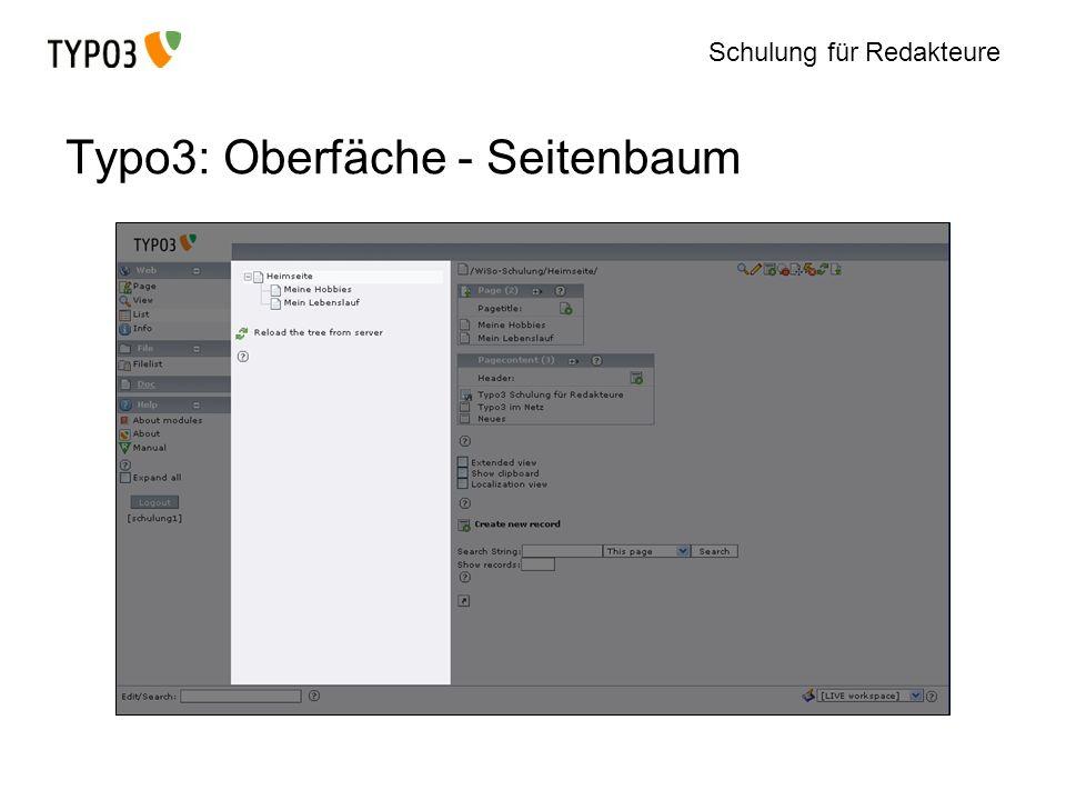 Typo3: Oberfäche - Seitenbaum