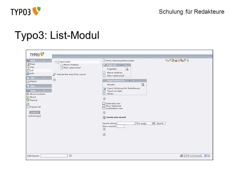 Typo3: List-Modul