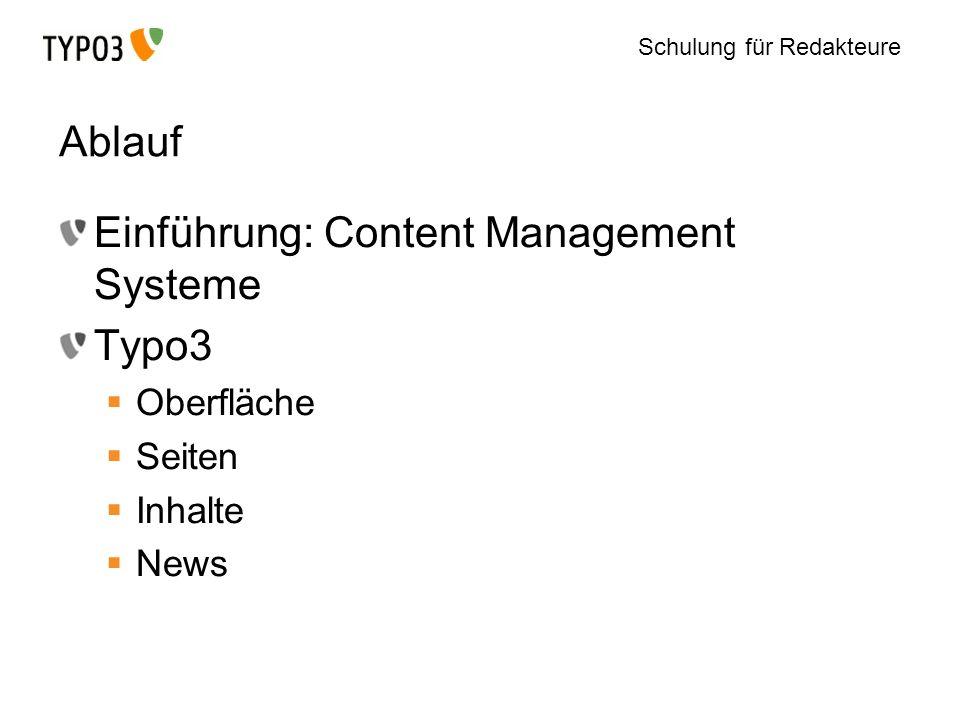 Einführung: Content Management Systeme Typo3