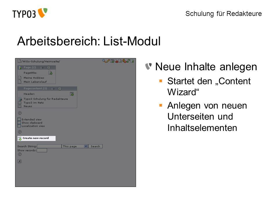 Arbeitsbereich: List-Modul