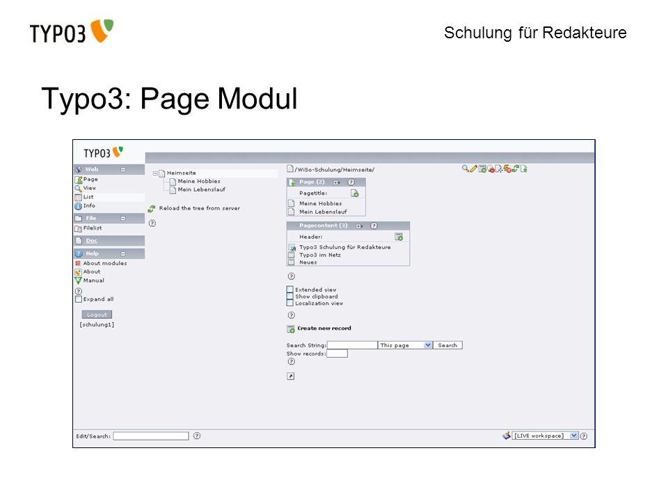 Typo3: Page Modul