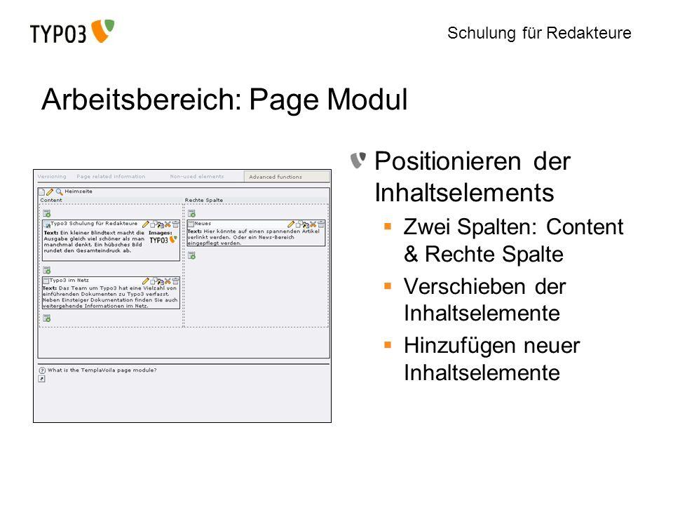 Arbeitsbereich: Page Modul