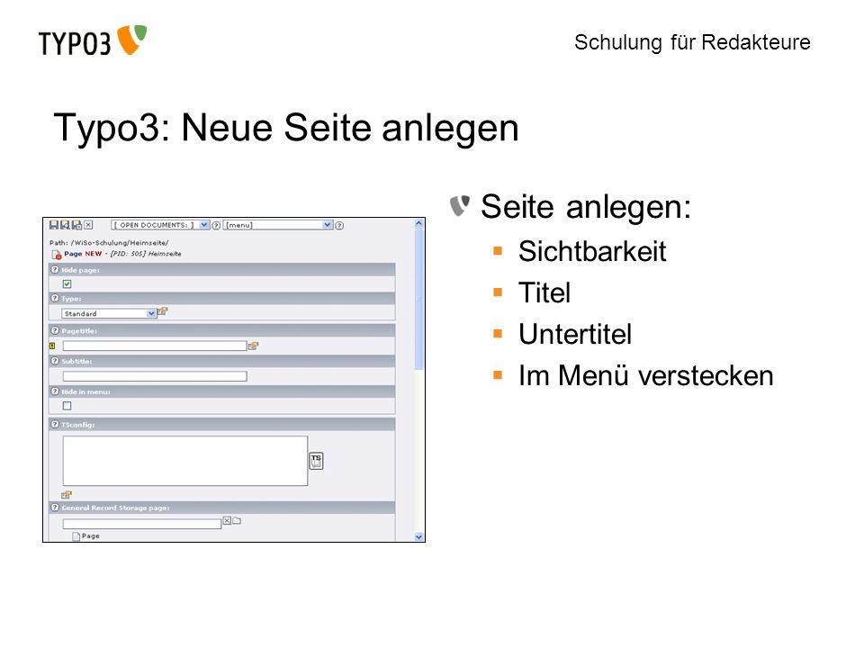 Typo3: Neue Seite anlegen