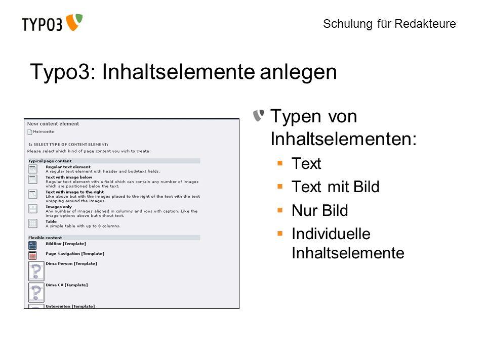 Typo3: Inhaltselemente anlegen