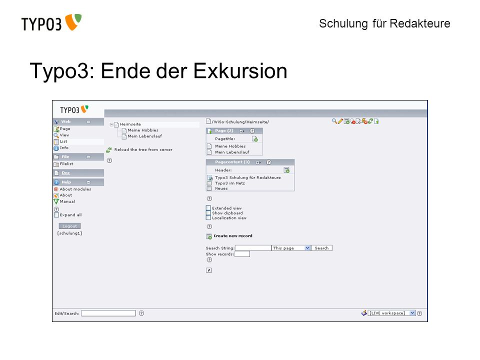 Typo3: Ende der Exkursion