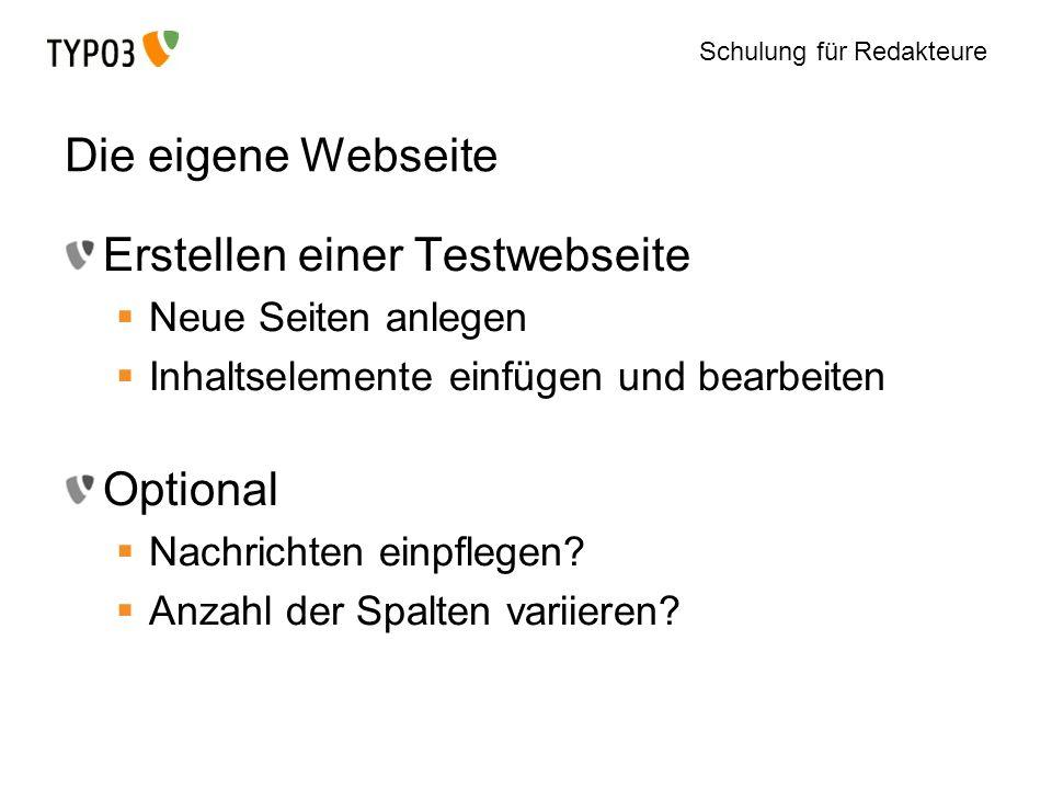 Erstellen einer Testwebseite