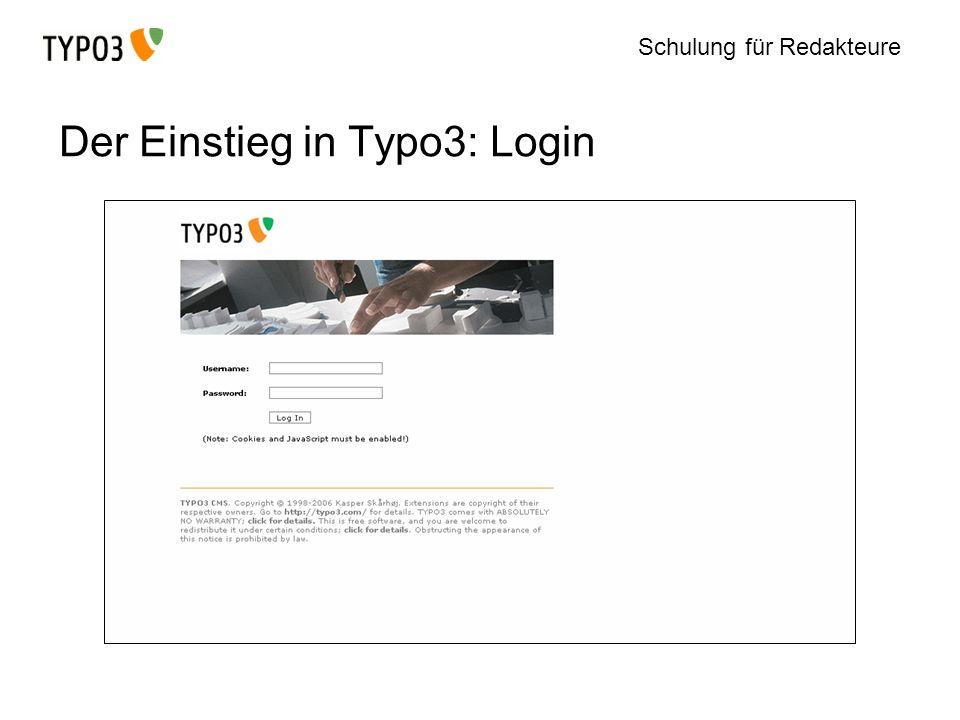 Der Einstieg in Typo3: Login