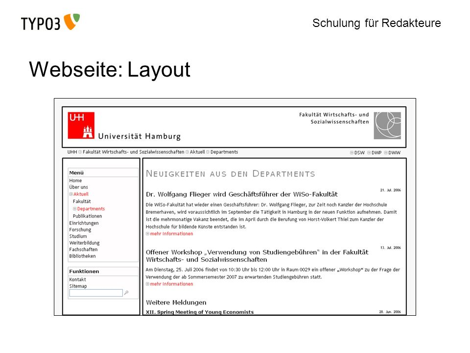 Webseite: Layout